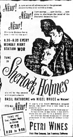 The New Adventures of Sherlock Holmes Newspaper Advert