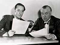 Basil Rathbone and Nigel Bruce at the mic