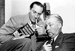 Basil Rathbone and Nigel Bruce at the microphone